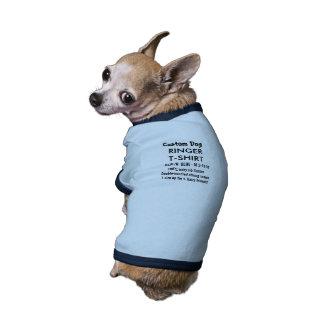 T-shirt fait sur commande S BLEU de sonnerie de T-shirt Ringer Pour Chien