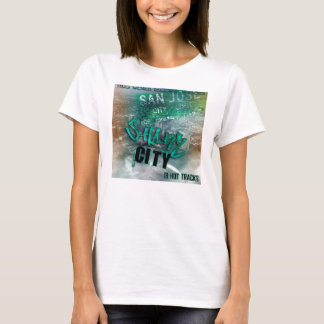 T-shirt femelle de chemise de ville de requin de records