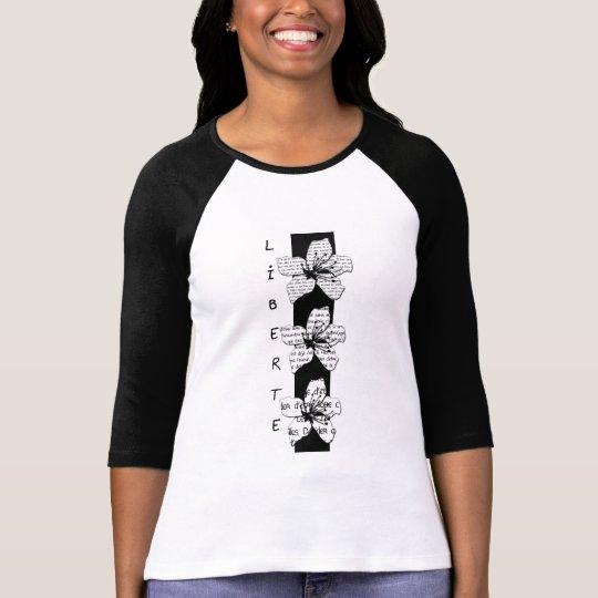 """T-shirt femme manches 3/4 en coton """"Liberté"""""""