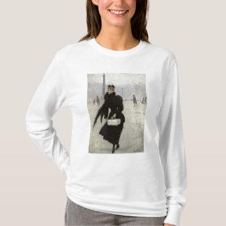 T-shirt Femme parisienne dans le Place de la Concorde