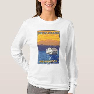 T-shirt Ferry et montagnes - orques île, Washington