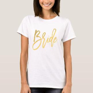 T-shirt Fiançailles à la mode de manuscrit moderne d'or de