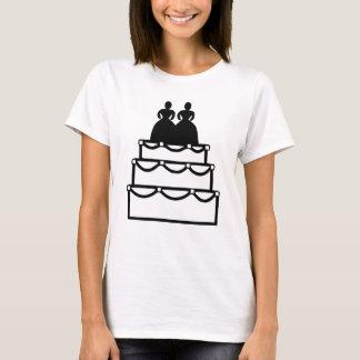 T-shirt Fiançailles lesbien de gâteau de mariage d'amour