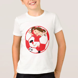 T-shirt Fille 1 du football et rouge et blanc de boule