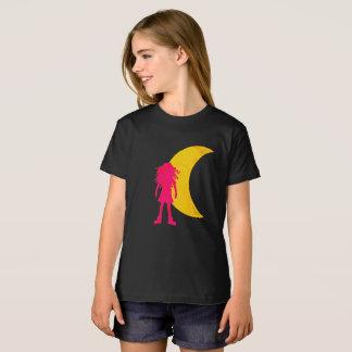 T-Shirt Fille avec de longs cheveux bouclés et la lune