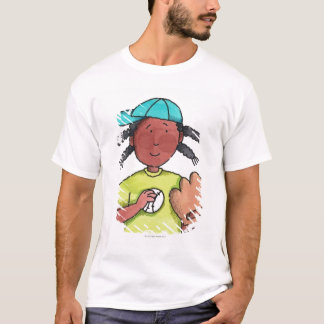 T-shirt Fille avec le base-ball et le gant