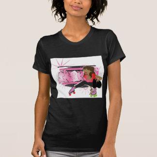 T-shirt Fille de patineur avec la copie d'étiquette