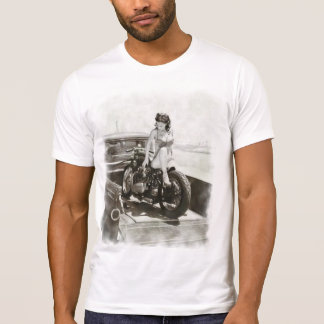 T-SHIRT FILLE DE PIN-UP SUR LA MOTO