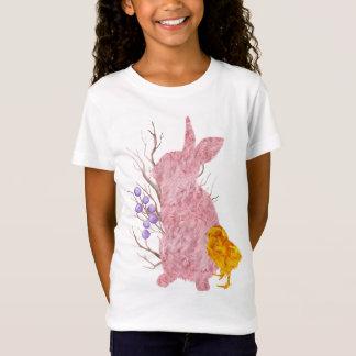 T-Shirt Fille de ressort de Pâques de poussin de rose de