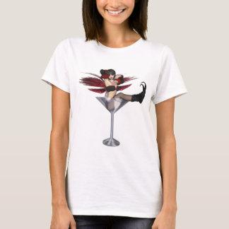T-shirt Fille féerique d'aile rouge en verre de Martini