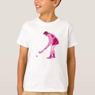 T-shirt Fille rose d'hockey de champ