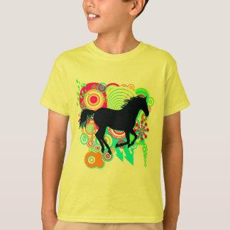 T-shirt Filles galopant la silhouette de cheval