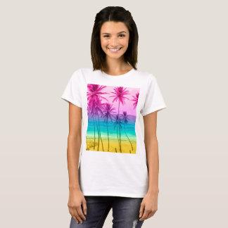 T-shirt Filtre tropical d'arc-en-ciel de plage