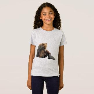 T-shirt fin du jersey de la fille avec des petits