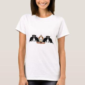 T-shirt Flamme Triquetra de Pentgagram de chats
