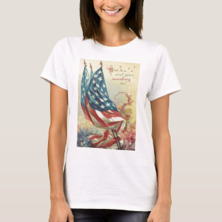 T-shirt Fleur de Jour du Souvenir de drapeau des USA