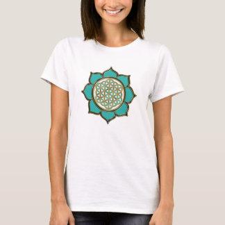 T-shirt Fleur de la vie Lotus - türkis