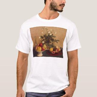 T-shirt Fleurs, plat avec le fruit et carafe, 1865