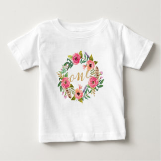 T-shirt floral rose de premier anniversaire