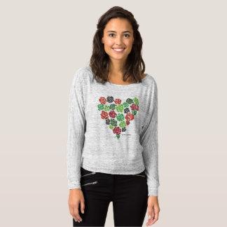 T-shirt Flowy outre du dessus rose floral de coeur