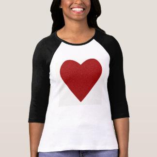 T-shirt Forme rouge de coeur d'amour de scintillement