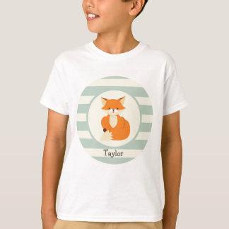 T-shirt Fox mignon de région boisée sur des rayures de
