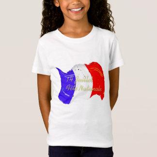 T-shirt français grunge de filles de drapeau