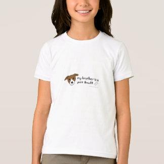 T-shirt Frère blanc et bronzage de pitbull