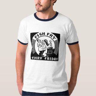 """T-shirt """"Friture de poissons chaque vendredi"""" customisé"""