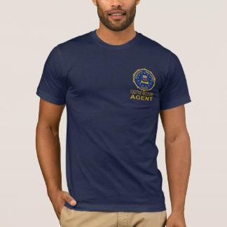 T-shirt FUGITIF d'AGENT de RÉCUPÉRATION de bleu