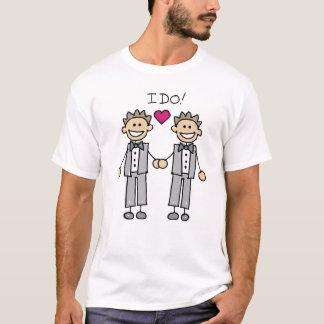 T-shirt gai de jour du mariage de mariés