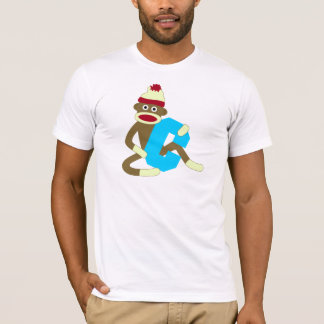 T-shirt Garçon C de monogramme de singe de chaussette