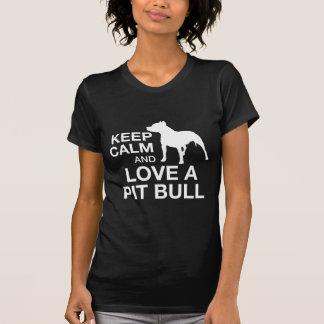 T-shirt Gardez le calme et aimez un pitbull - BLANC