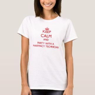 T-shirt Gardez le calme et la partie avec un technicien de