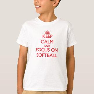 T-shirt Gardez le calme et le foyer sur le base-ball