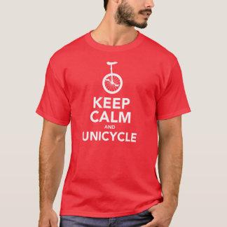 T-shirt Gardez le calme et le monocycle
