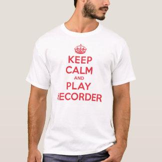 T-shirt Gardez l'enregistreur calme de jeu