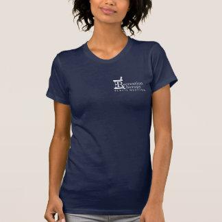 T-shirt gauche blanc de dames de thérapie du logo