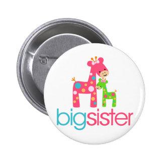 T-shirt génial de grande soeur de girafe badge rond 5 cm