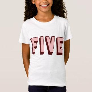 T-shirt génial rose de cinq anniversaires