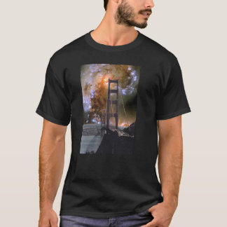T-shirt Golden gate bridge et galaxies se heurtantes de