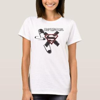 T-shirt Goupilles de sécurité noires de Supergirl