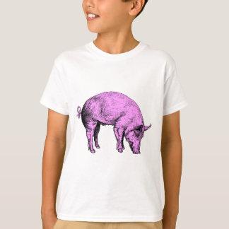 T-shirt Grand gros porc rose