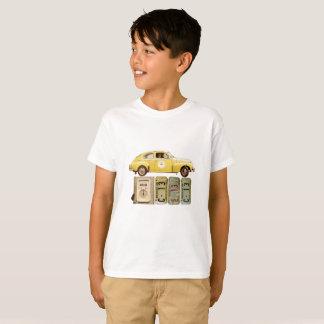 T-shirt graphique avec la voiture vintage jaune