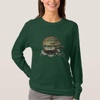 T-shirt Graphique de coucher du soleil de bonsaïs
