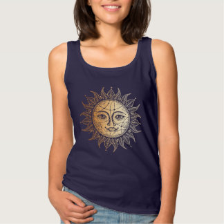 T-shirt graphique monochrome d'or céleste de Sun