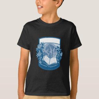 T-shirt Gravure sur bois en livre d'île d'orques de