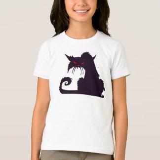 T-shirt grincheux de filles de chat noir