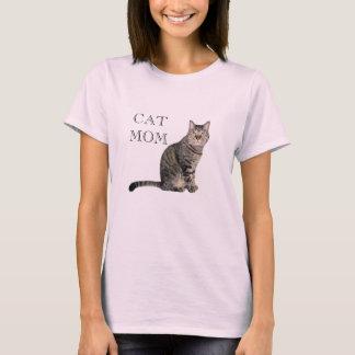 T-shirt gris de rose de maman de chat tigré