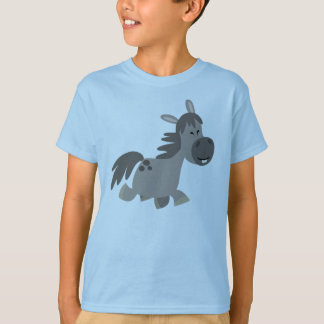 T-shirt gris d'enfants de poney de bande dessinée